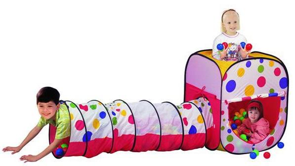 Detský stan na hranie s tunelom a loptičkami
