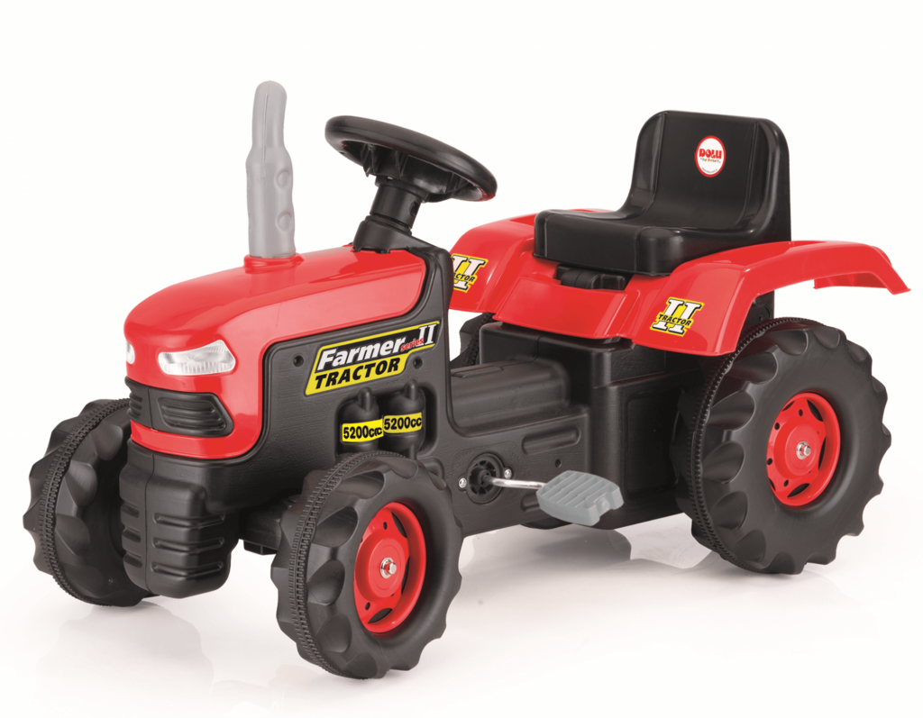 Dolu traktor pre deti červený