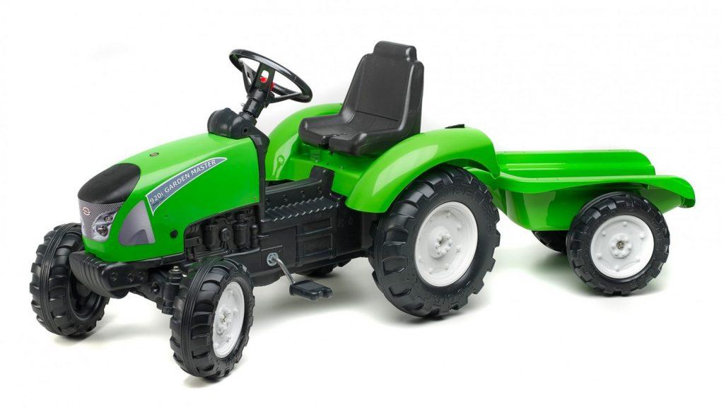 Falk zelený traktor pre deti s vlečkou Garden