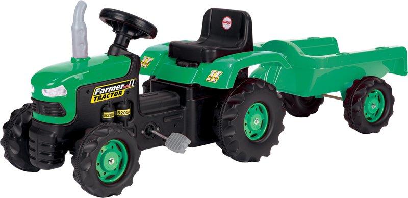 Dolu traktor pre deti s vlečkou