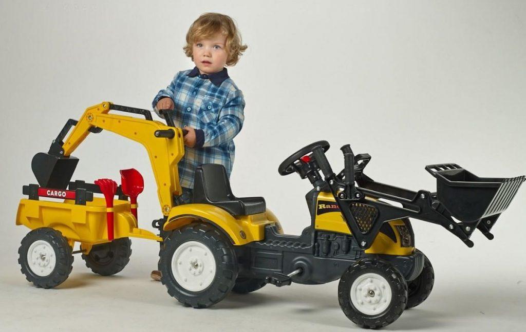 Lacný šliapací traktor Falk s bagrom Ranch