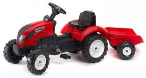 Šliapací traktor Falk pre deti od 2 rokov červený s vlečkou Garden