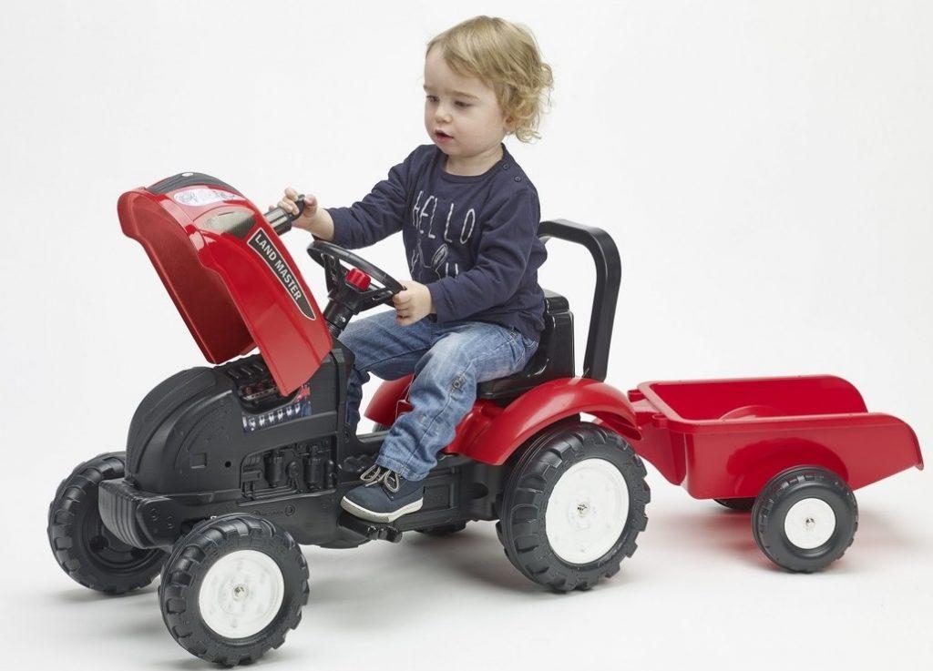 Šliapací traktor Falk pre deti od 2 rokov Land Master s vlečkou