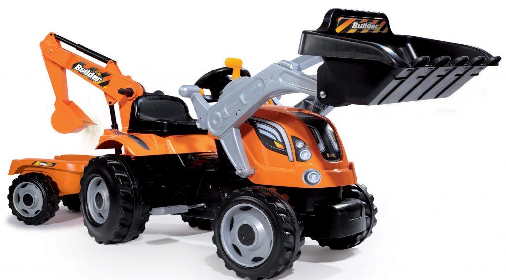 Smoby detský traktor Max Builder s nakladačom, bagrom a vlečkou